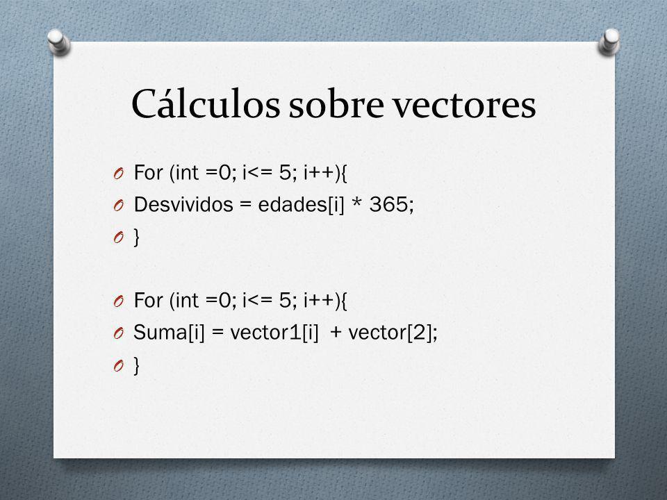 Cálculos sobre vectores