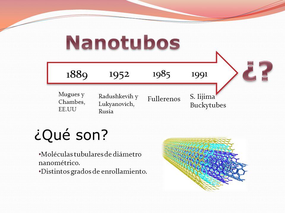 ¿ Nanotubos ¿Qué son 1889 1952 1991 1985 S. Iijima Fullerenos