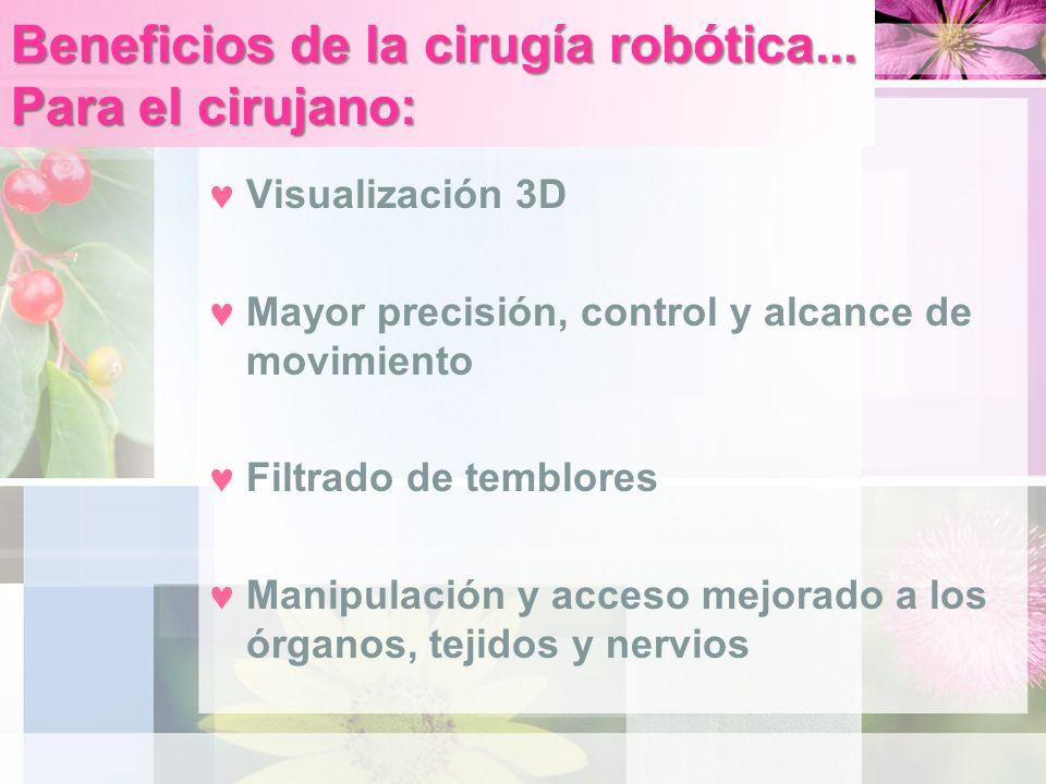 Beneficios de la cirugía robótica... Para el cirujano: