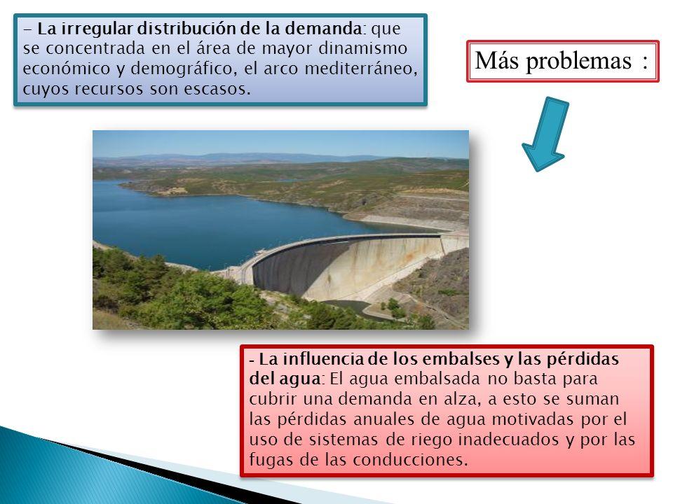 - La irregular distribución de la demanda: que se concentrada en el área de mayor dinamismo económico y demográfico, el arco mediterráneo, cuyos recursos son escasos.