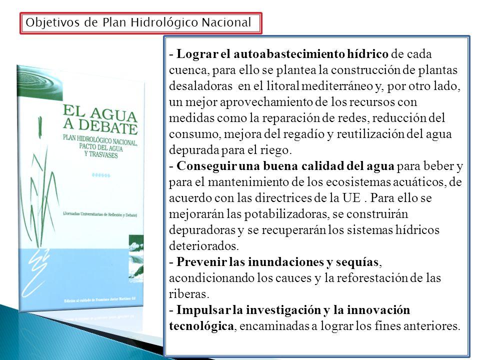 Objetivos de Plan Hidrológico Nacional