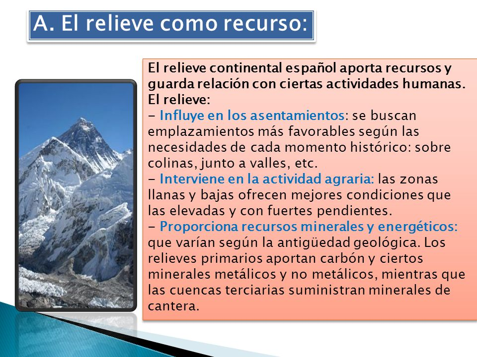 A. El relieve como recurso: