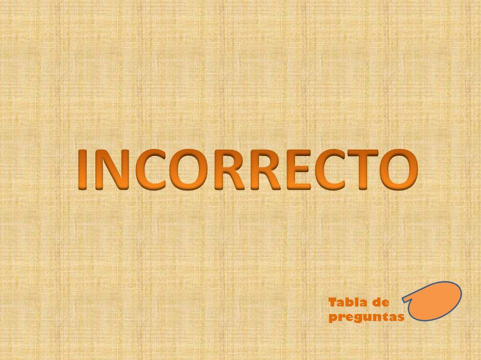INCORRECTO Tabla de preguntas