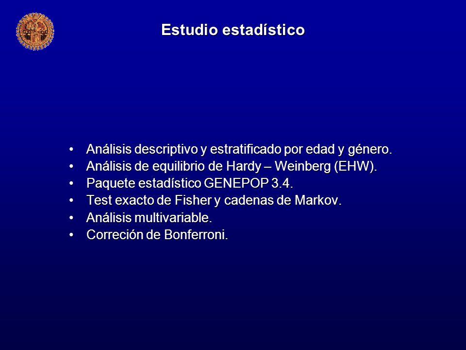 Estudio estadístico Análisis descriptivo y estratificado por edad y género. Análisis de equilibrio de Hardy – Weinberg (EHW).