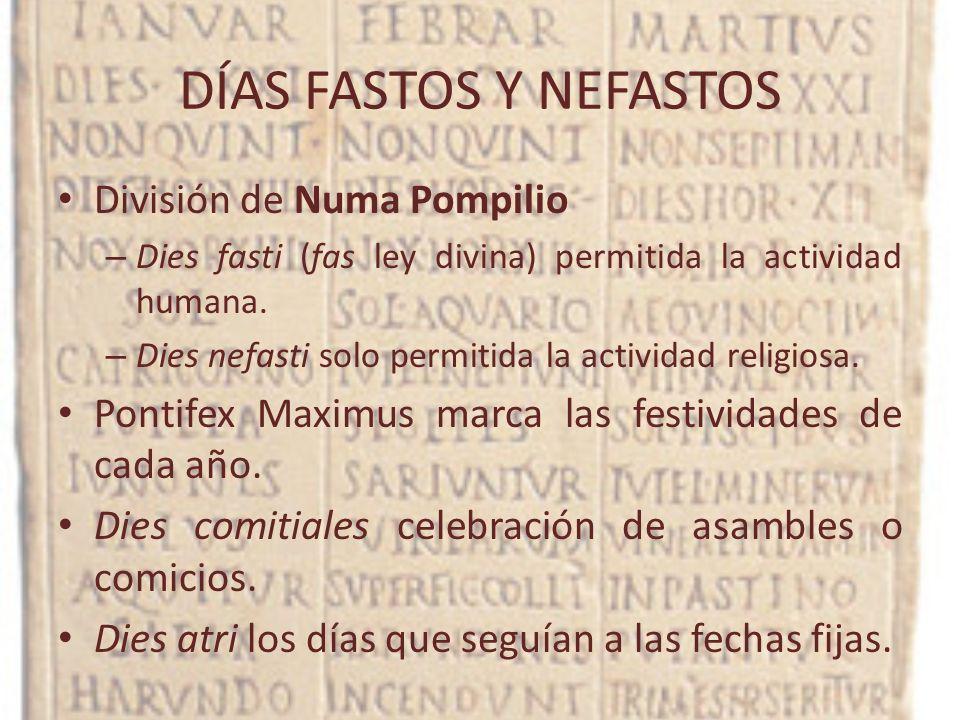 DÍAS FASTOS Y NEFASTOS División de Numa Pompilio