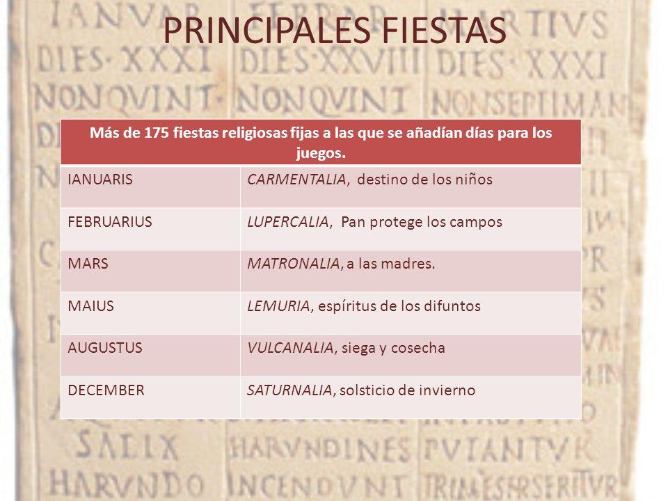 PRINCIPALES FIESTAS Más de 175 fiestas religiosas fijas a las que se añadían días para los juegos. IANUARIS.