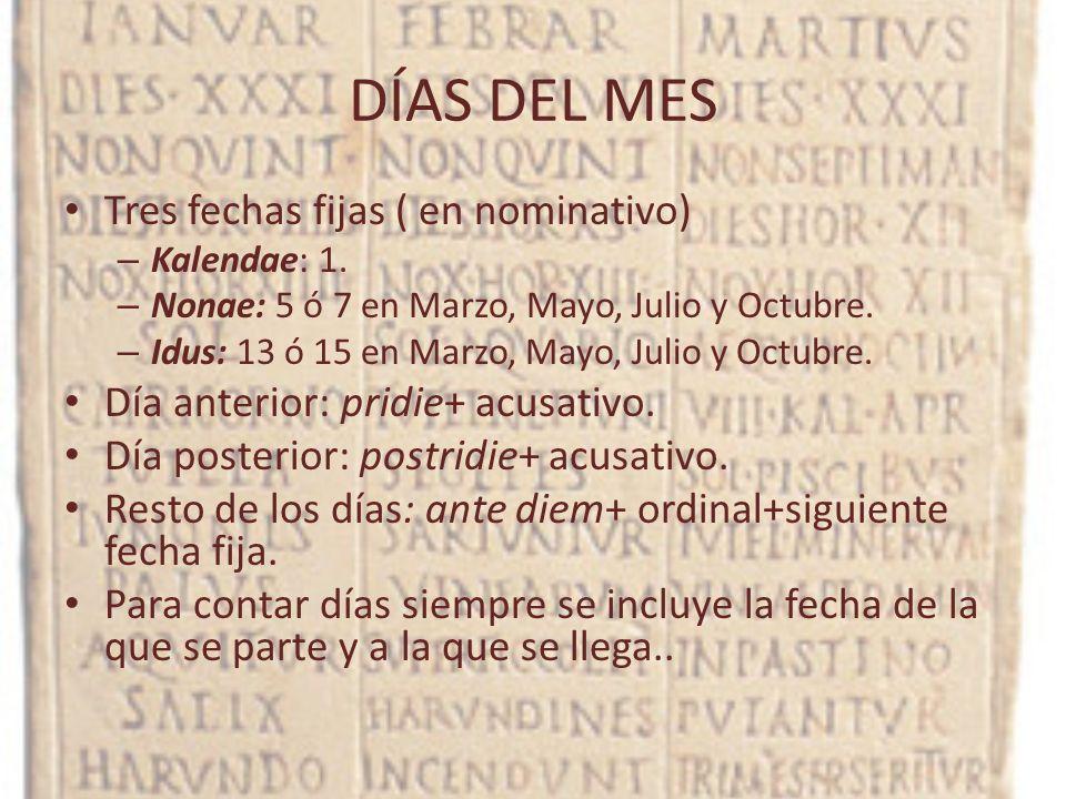DÍAS DEL MES Tres fechas fijas ( en nominativo)