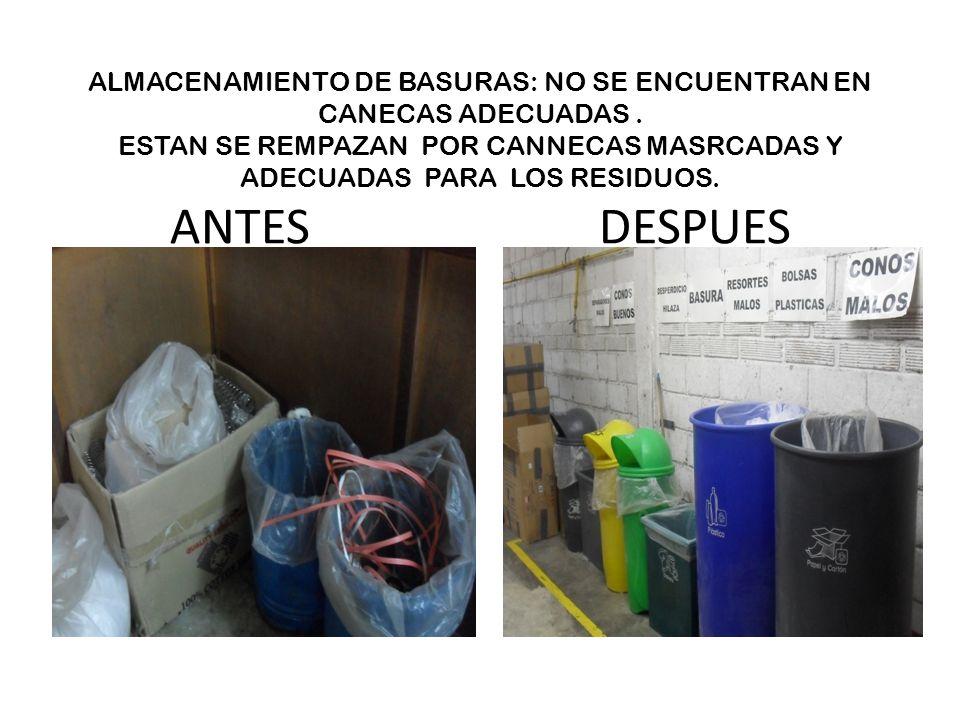ALMACENAMIENTO DE BASURAS: NO SE ENCUENTRAN EN CANECAS ADECUADAS
