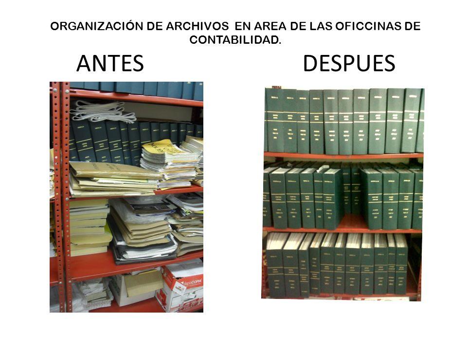 ORGANIZACIÓN DE ARCHIVOS EN AREA DE LAS OFICCINAS DE CONTABILIDAD