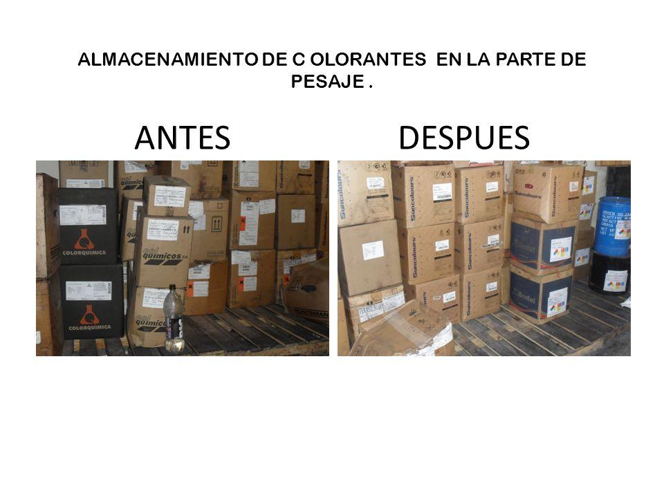 ALMACENAMIENTO DE C OLORANTES EN LA PARTE DE PESAJE . ANTES DESPUES