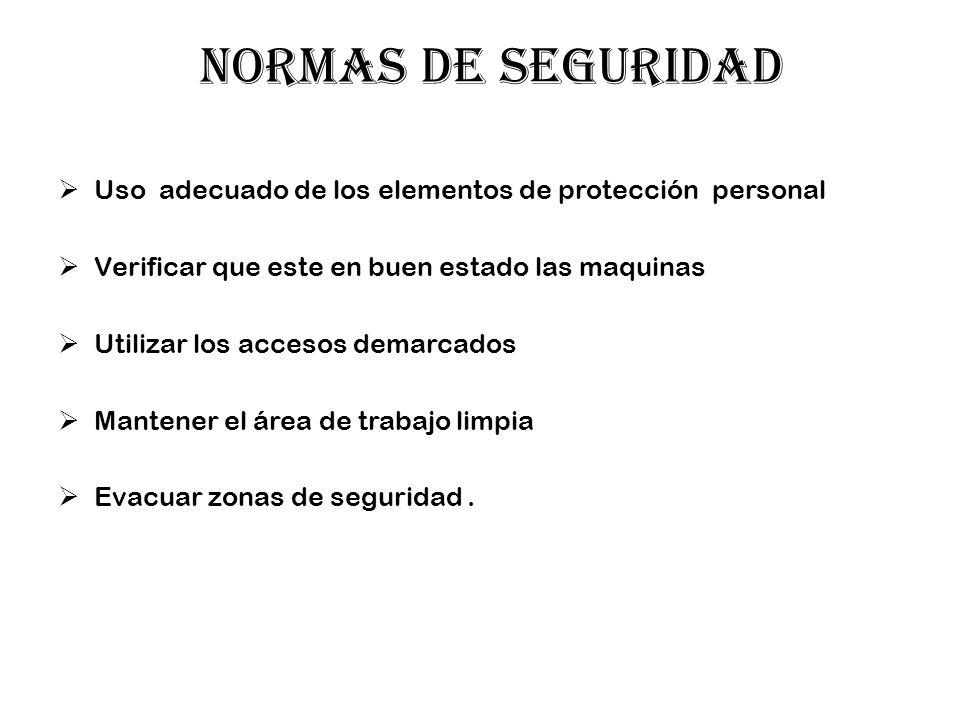 NORMAS DE SEGURIDAD Uso adecuado de los elementos de protección personal. Verificar que este en buen estado las maquinas.