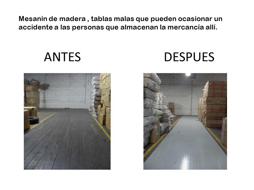 Mesanin de madera , tablas malas que pueden ocasionar un accidente a las personas que almacenan la mercancía allí.
