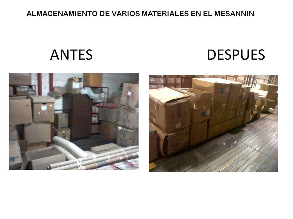 ALMACENAMIENTO DE VARIOS MATERIALES EN EL MESANNIN. ANTES DESPUES