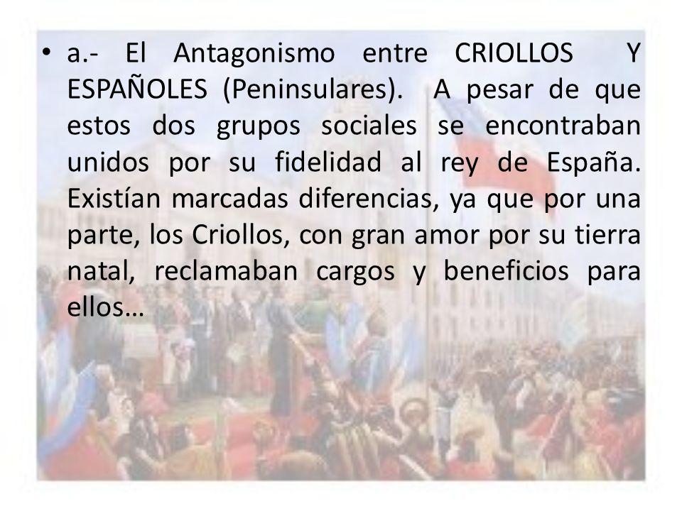 a. - El Antagonismo entre CRIOLLOS Y ESPAÑOLES (Peninsulares)