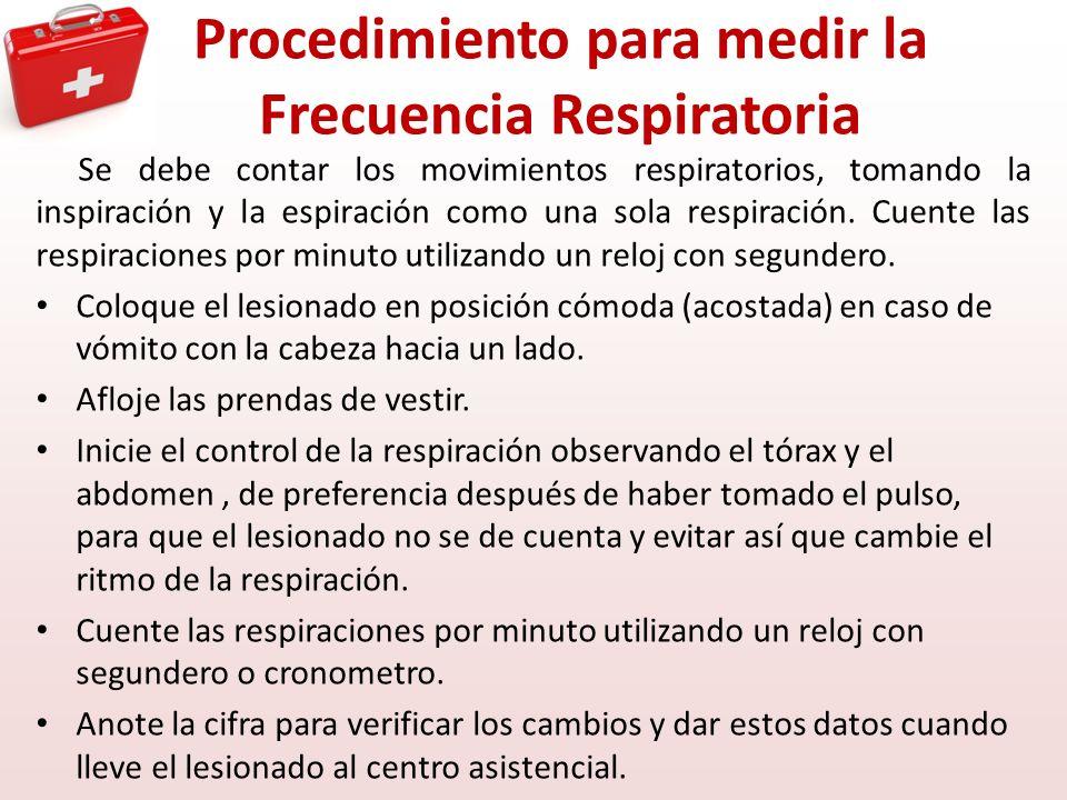 Procedimiento para medir la Frecuencia Respiratoria