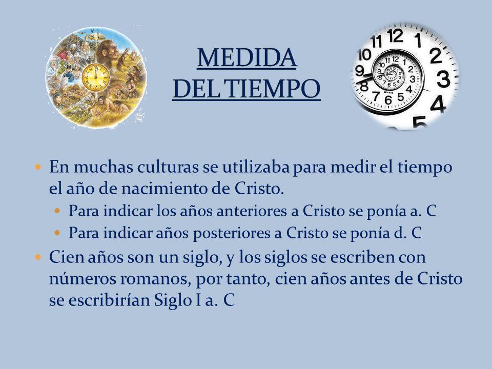 MEDIDA DEL TIEMPO En muchas culturas se utilizaba para medir el tiempo el año de nacimiento de Cristo.
