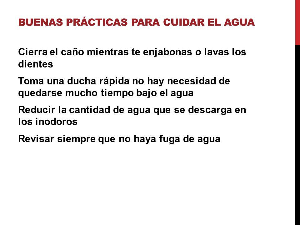 BUENAS PRÁCTICAS PARA CUIDAR EL AGUA