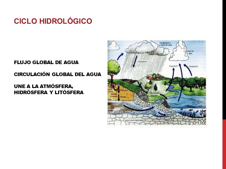 CICLO HIDROLÓGICO Flujo global de agua Circulación global del agua Une a la atmósfera, hidrósfera y litósfera.