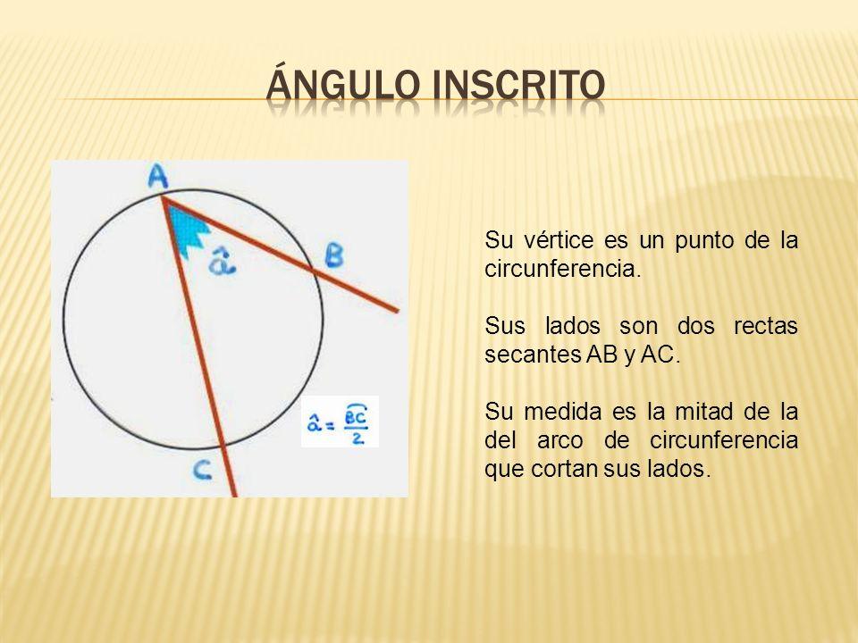 ÁNGULO INSCRITO Su vértice es un punto de la circunferencia.