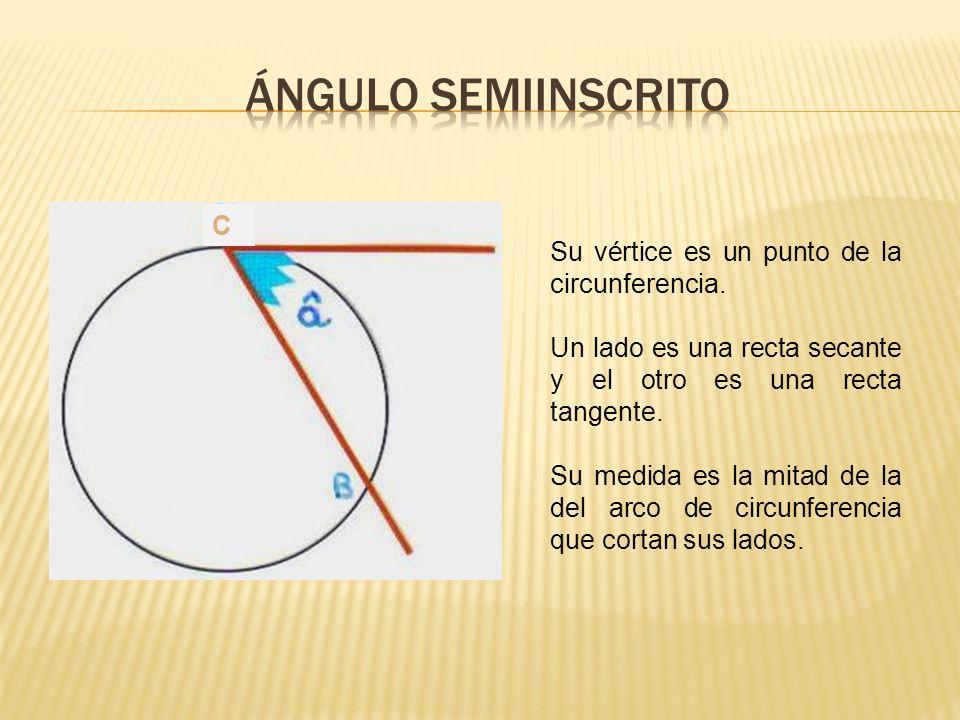 ÁNGULO SEMIINSCRITO C Su vértice es un punto de la circunferencia.