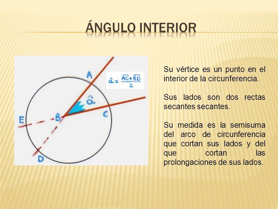 ÁNGULO INTERIOR Su vértice es un punto en el interior de la circunferencia. Sus lados son dos rectas secantes secantes.