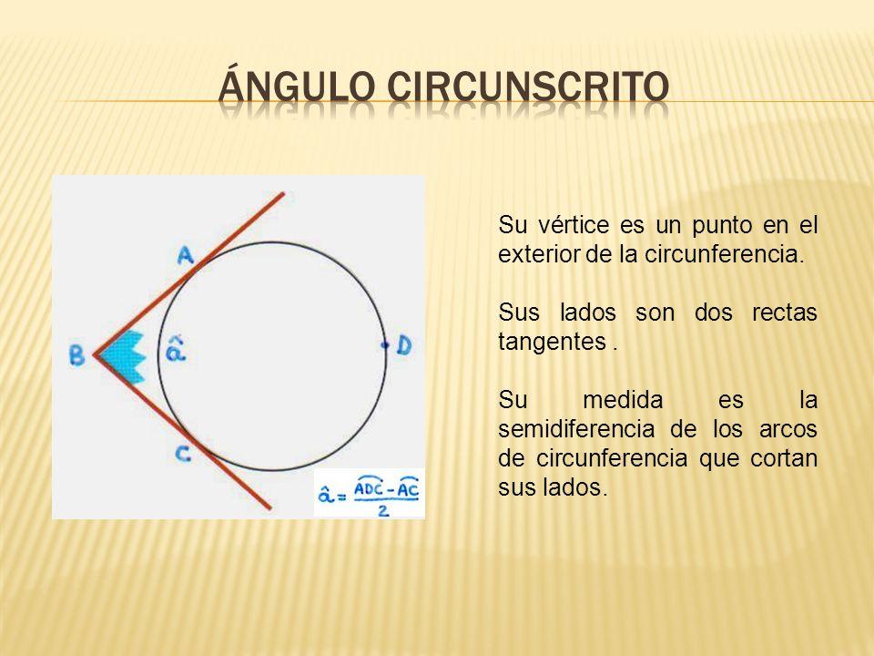 ÁNGULO CIRCUNSCRITO Su vértice es un punto en el exterior de la circunferencia. Sus lados son dos rectas tangentes .
