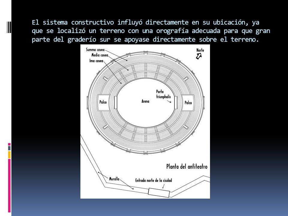 El sistema constructivo influyó directamente en su ubicación, ya que se localizó un terreno con una orografía adecuada para que gran parte del graderío sur se apoyase directamente sobre el terreno.