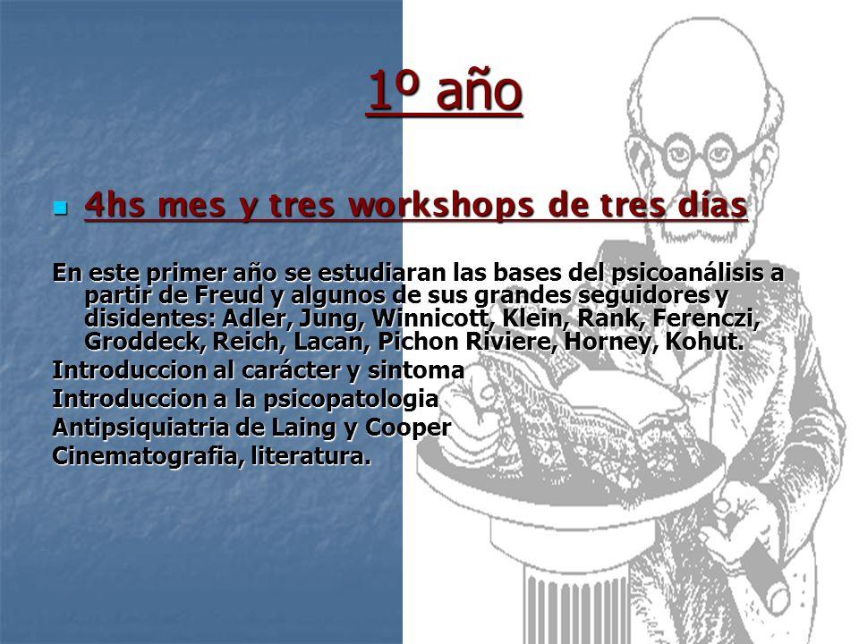 1º año 4hs mes y tres workshops de tres días