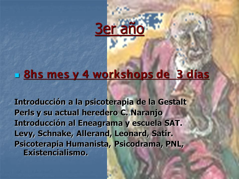 3er año 8hs mes y 4 workshops de 3 días