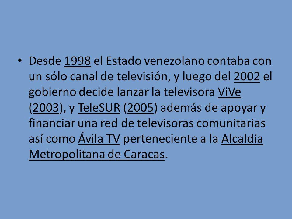 Desde 1998 el Estado venezolano contaba con un sólo canal de televisión, y luego del 2002 el gobierno decide lanzar la televisora ViVe (2003), y TeleSUR (2005) además de apoyar y financiar una red de televisoras comunitarias así como Ávila TV perteneciente a la Alcaldía Metropolitana de Caracas.