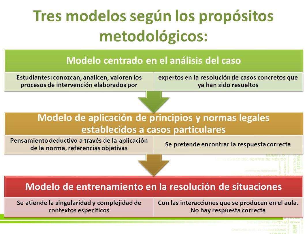 Tres modelos según los propósitos metodológicos: