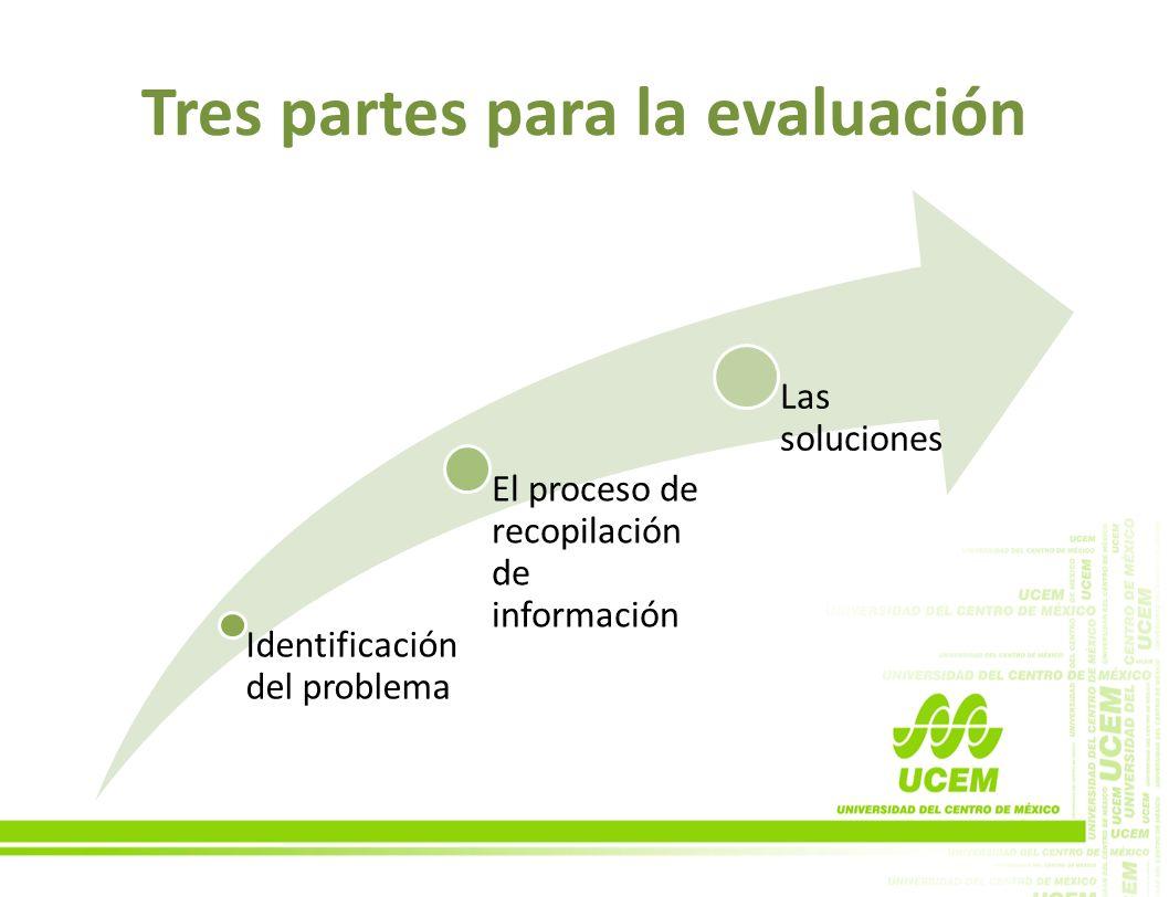 Tres partes para la evaluación