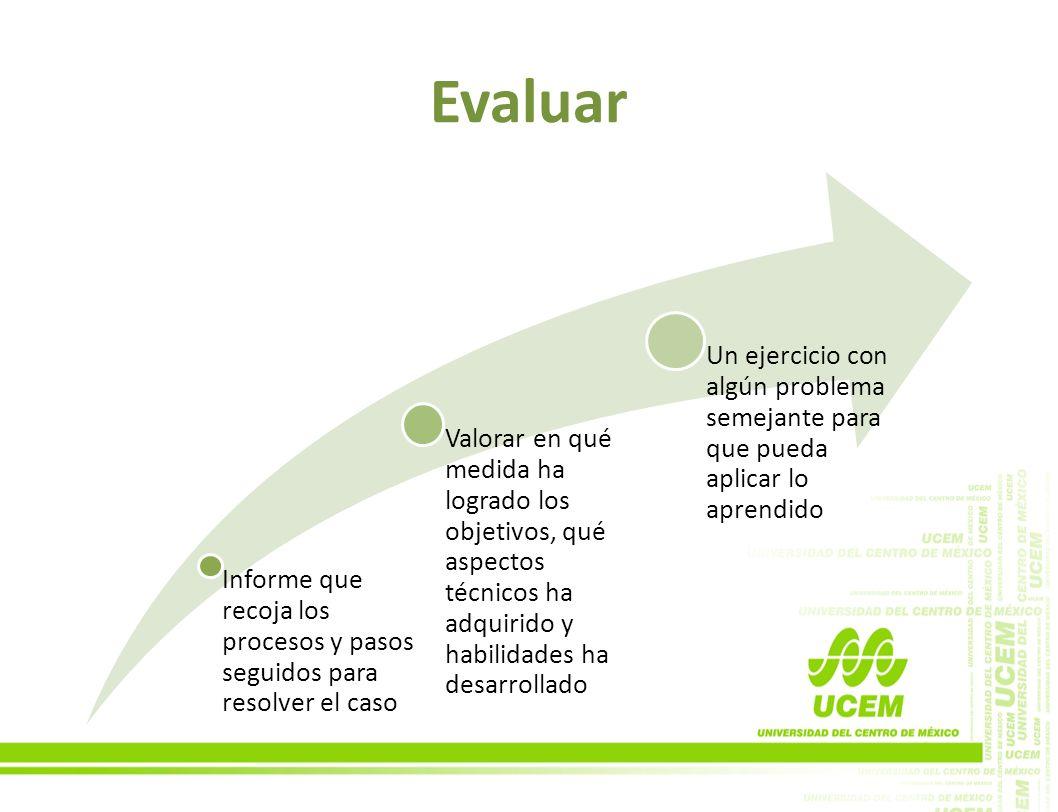 Evaluar Informe que recoja los procesos y pasos seguidos para resolver el caso.