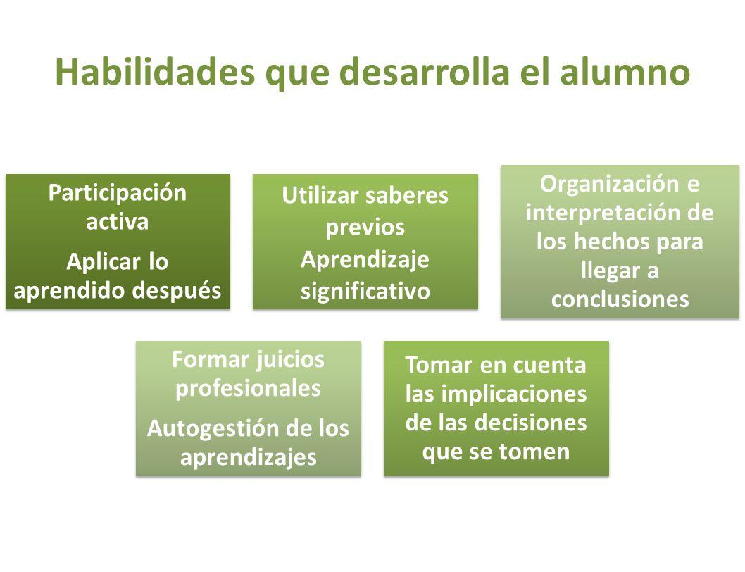 Habilidades que desarrolla el alumno