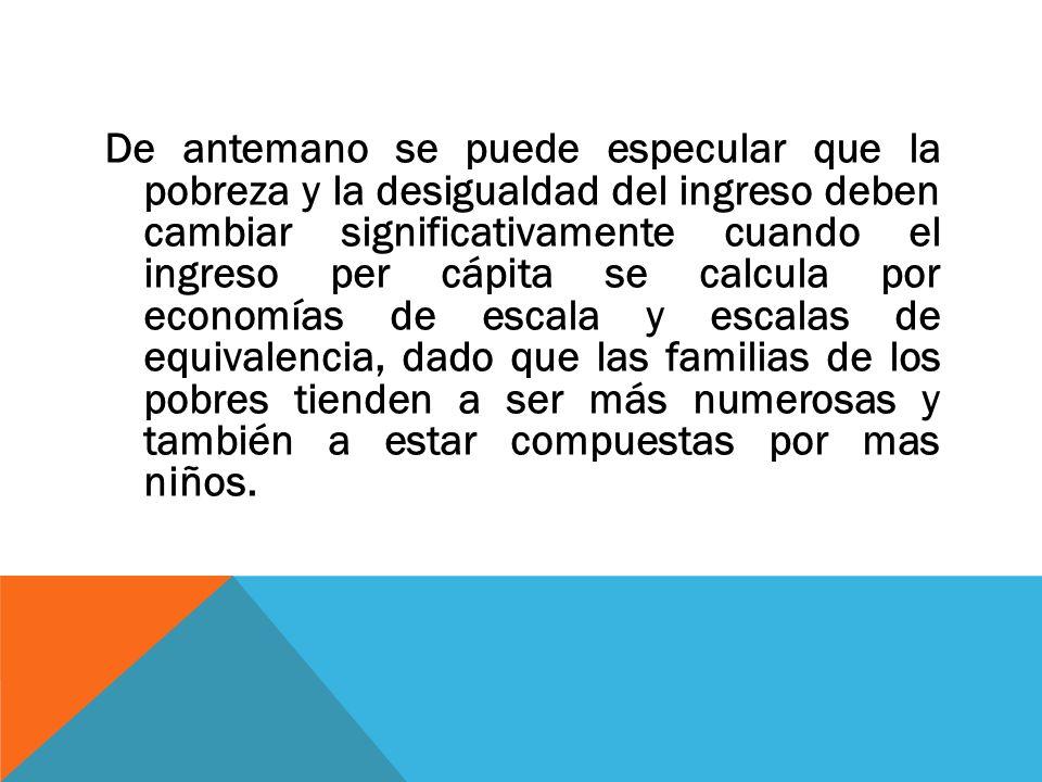 De antemano se puede especular que la pobreza y la desigualdad del ingreso deben cambiar significativamente cuando el ingreso per cápita se calcula por economías de escala y escalas de equivalencia, dado que las familias de los pobres tienden a ser más numerosas y también a estar compuestas por mas niños.