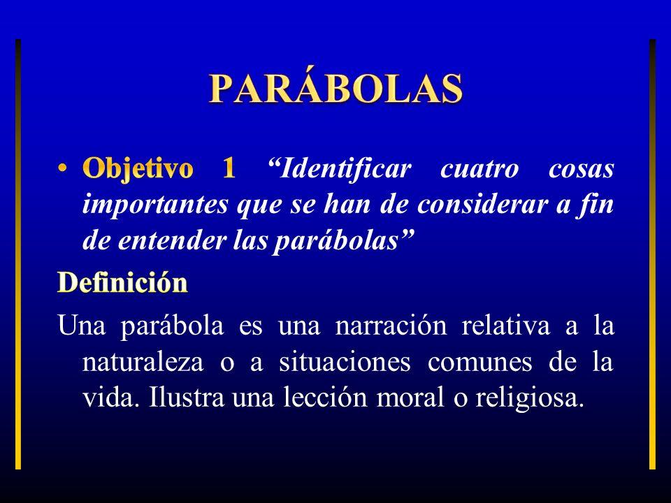 PARÁBOLAS Objetivo 1 Identificar cuatro cosas importantes que se han de considerar a fin de entender las parábolas