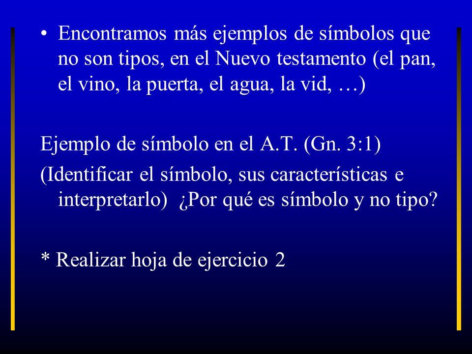 Encontramos más ejemplos de símbolos que no son tipos, en el Nuevo testamento (el pan, el vino, la puerta, el agua, la vid, …)