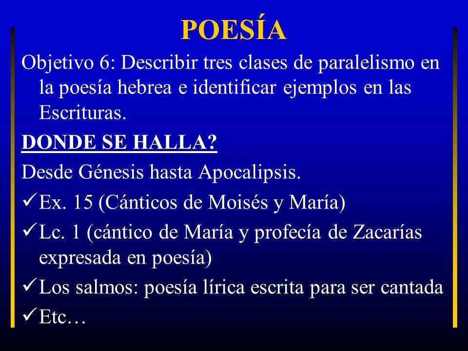POESÍA Objetivo 6: Describir tres clases de paralelismo en la poesía hebrea e identificar ejemplos en las Escrituras.