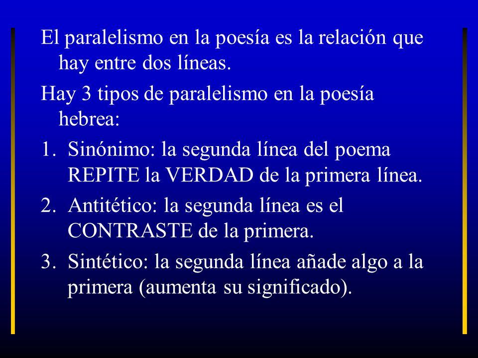 El paralelismo en la poesía es la relación que hay entre dos líneas.