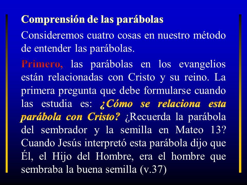 Comprensión de las parábolas Consideremos cuatro cosas en nuestro método de entender las parábolas.