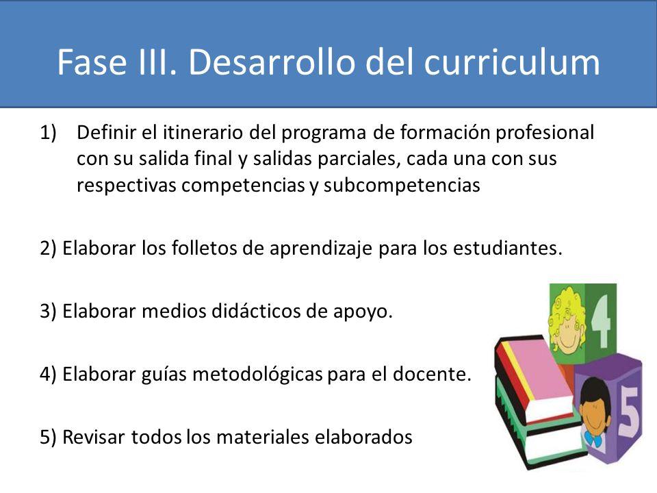 Fase III. Desarrollo del curriculum
