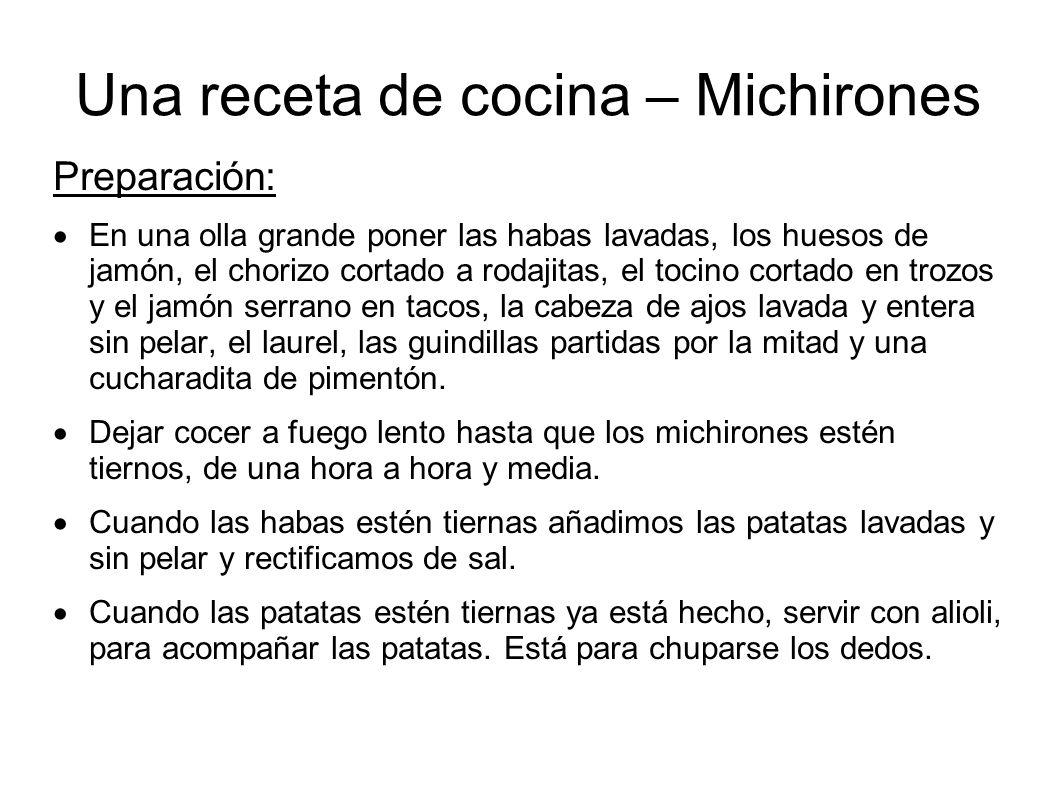 Una receta de cocina – Michirones