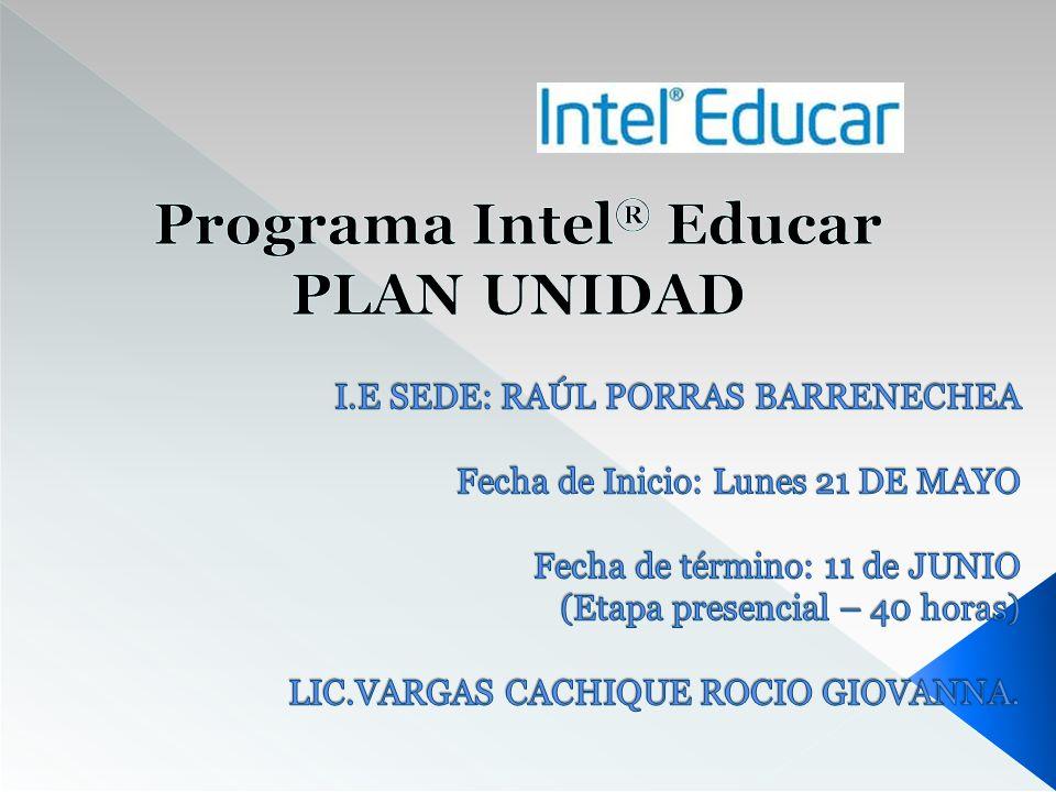 Programa Intel® Educar PLAN UNIDAD