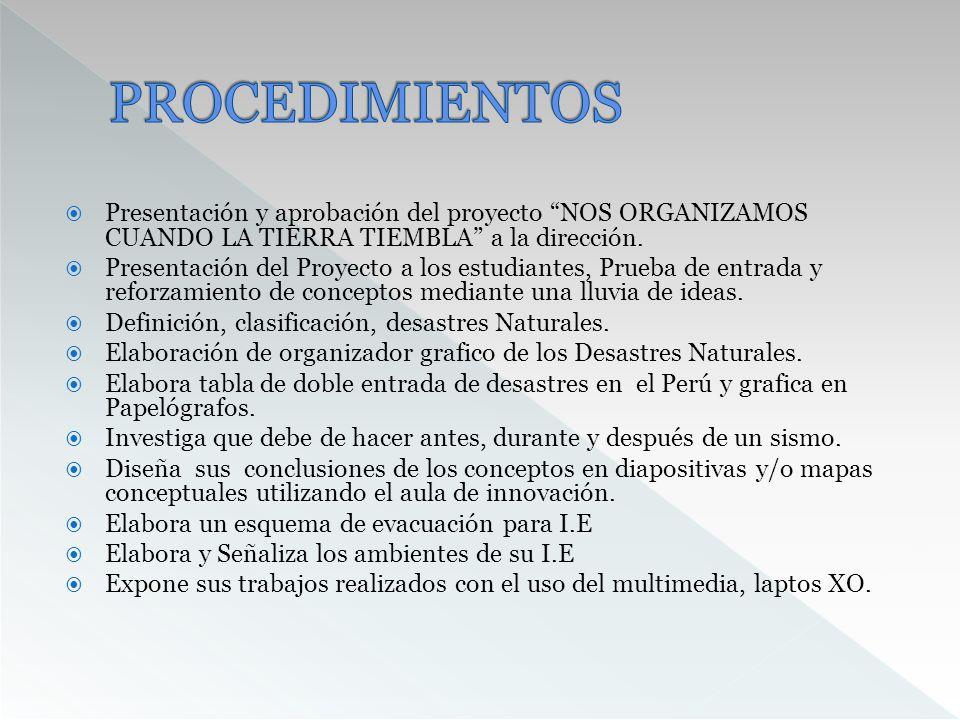 PROCEDIMIENTOS Presentación y aprobación del proyecto NOS ORGANIZAMOS CUANDO LA TIERRA TIEMBLA a la dirección.