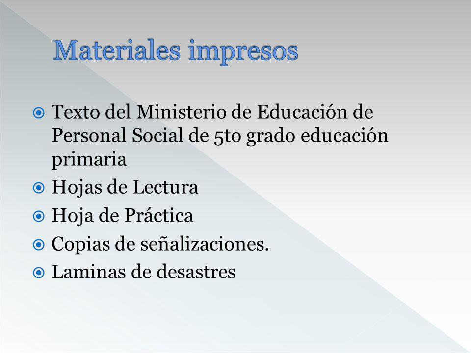 Materiales impresosTexto del Ministerio de Educación de Personal Social de 5to grado educación primaria.