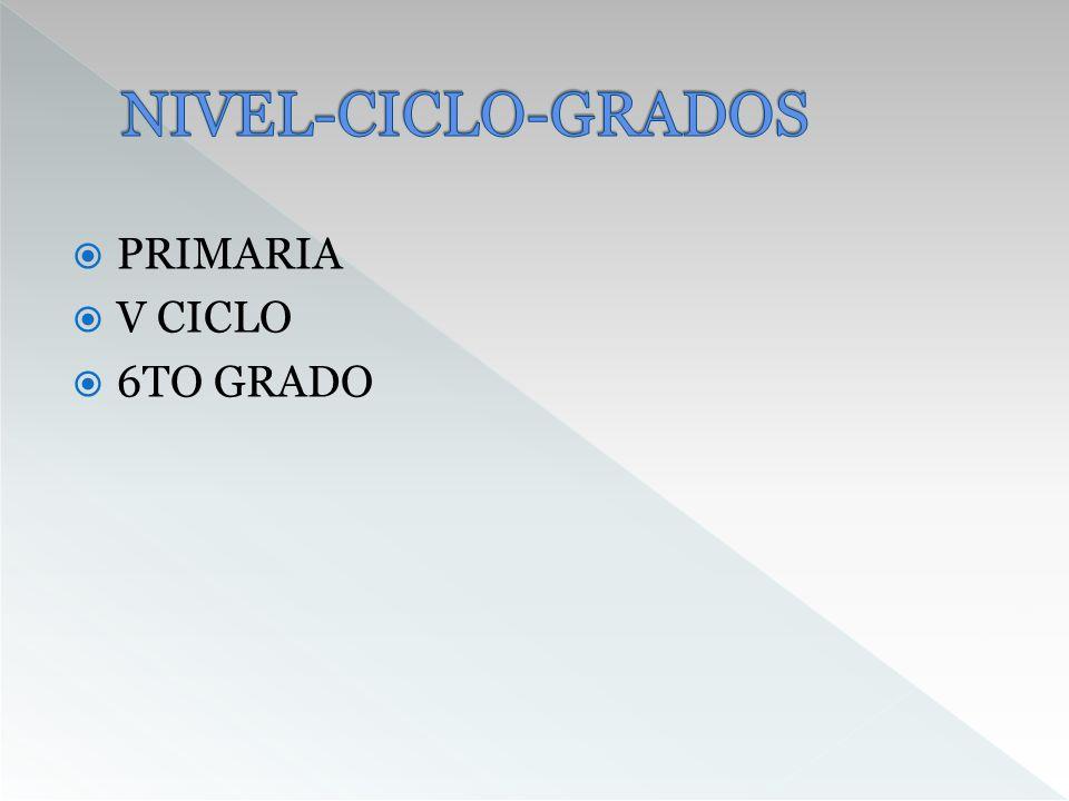 NIVEL-CICLO-GRADOS PRIMARIA V CICLO 6TO GRADO