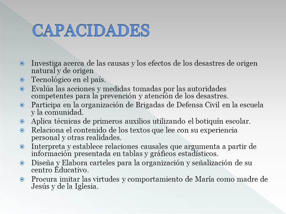CAPACIDADES Investiga acerca de las causas y los efectos de los desastres de origen natural y de origen.