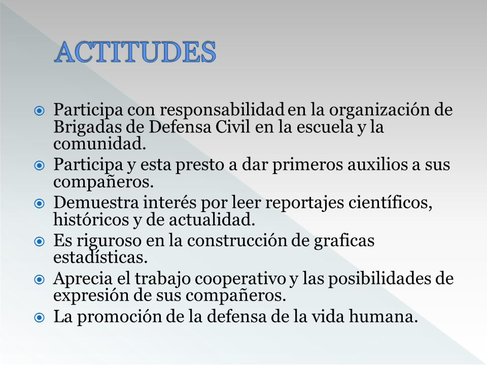 ACTITUDESParticipa con responsabilidad en la organización de Brigadas de Defensa Civil en la escuela y la comunidad.
