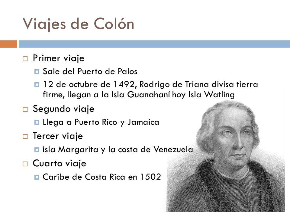 Viajes de Colón Primer viaje Segundo viaje Tercer viaje Cuarto viaje