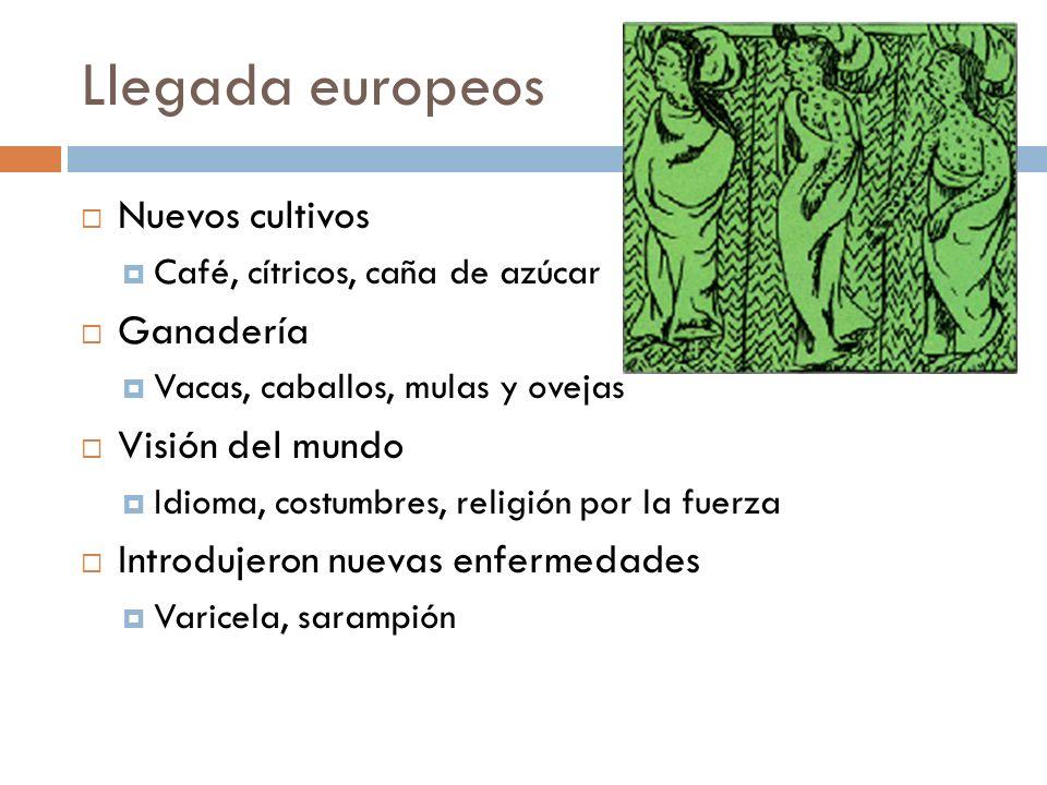 Llegada europeos Nuevos cultivos Ganadería Visión del mundo